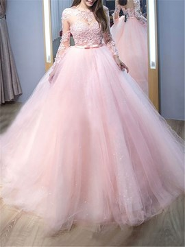 Ericdress Long Sleeves Ball Gown Lace Evening Dress