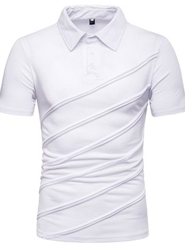 Ericdress Plain Striped Mens Casual Polo Shirt