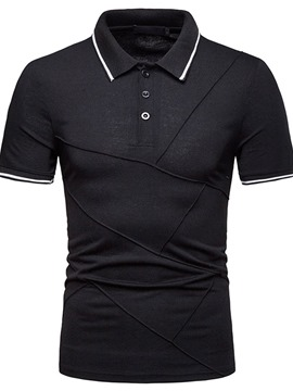Ericdress Striped Color Block Patchwork Mens Casual Polo Shirt