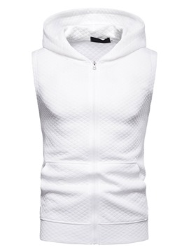 Ericdress Plain Hooded Zipper Mens Casual Vest