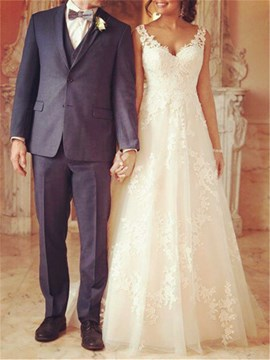 Ericdress V-Neck Straps Lace Appliques Wedding Dress
