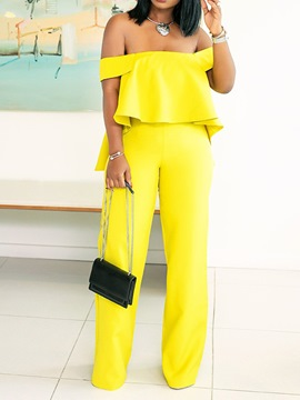 Ericdress Falbala Off Shoulder Yellow Wide Legs Slim Jumpsuit