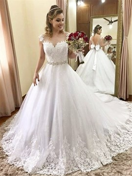 Ericdress Beading Cap Sleeves Chapel Train Wedding Dress 2019