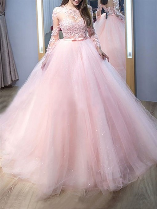 Ericdress Long Sleeves Ball Gown Lace Evening Dress 2019