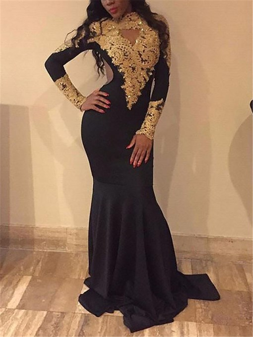 Ericdress Appliques Long Sleeves Mermaid Evening Dress