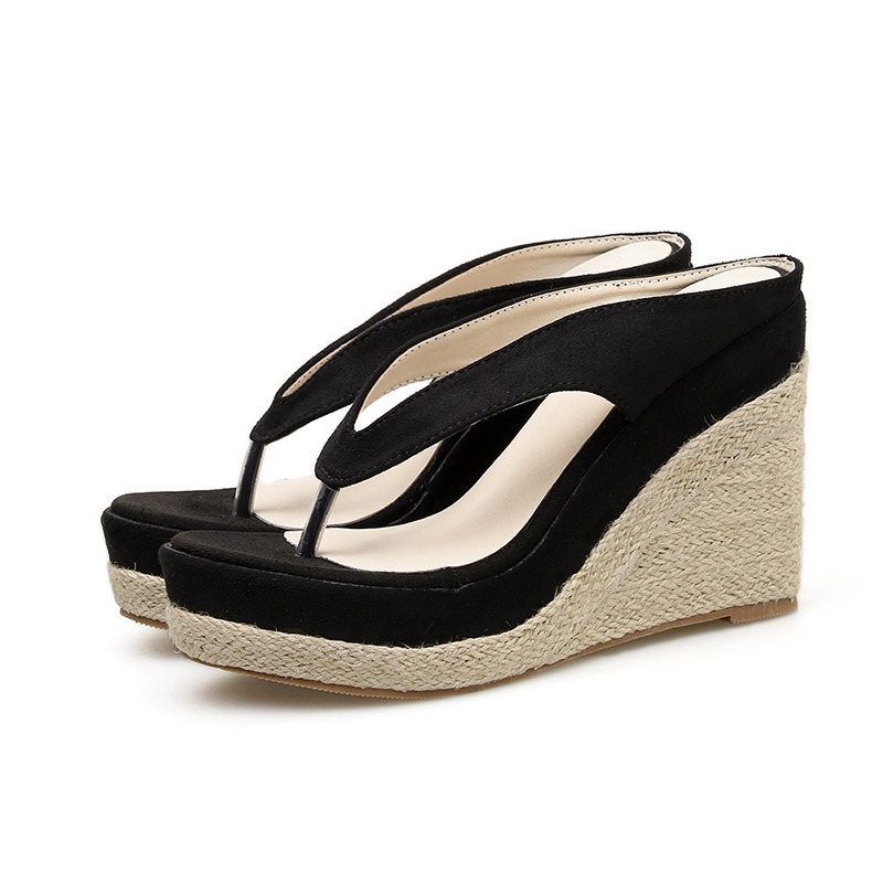 Ericdress Faux Suede Woven Thong Wedge Heel Women's Slippers