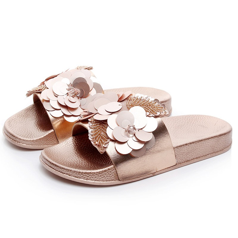 Ericdress PU Sequin Slip-On Women's Flat Sandals