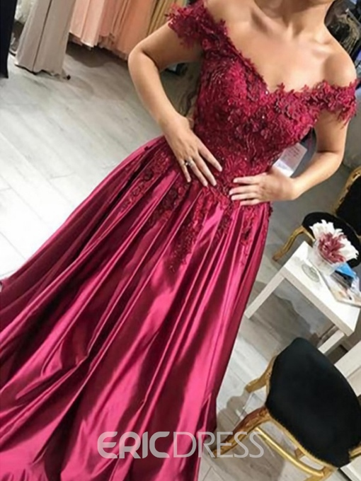 Ericdress Appliques Beading Off-The-Shoulder Evening Dress 2019