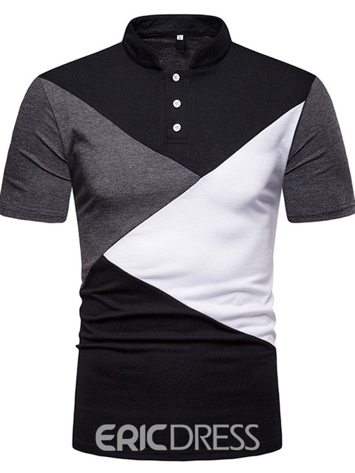 Ericdress Patchwork Color Block Stand Collar Mens Polo Shirt