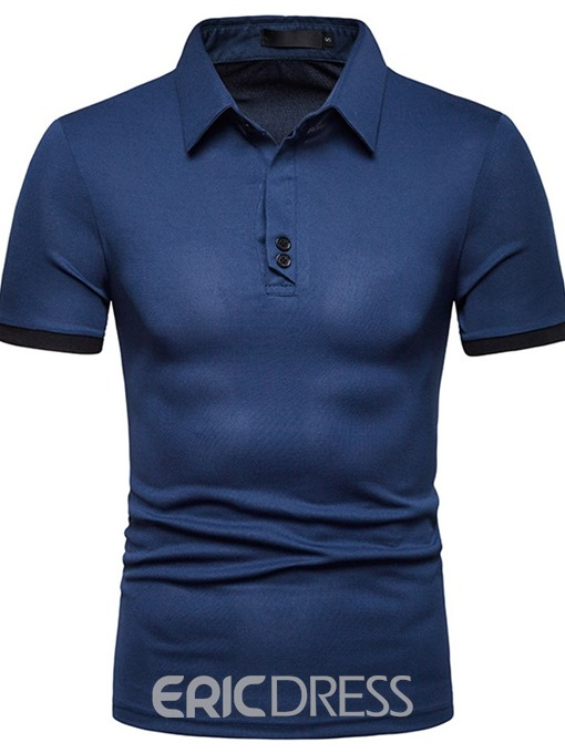Ericdress Patchwork Color Block Mens Casual Polo Shirt