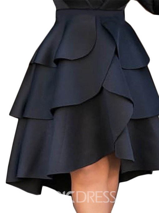 Ericdress Falbala Plain Knee-Length Cupcake High Waist Casual Skirt