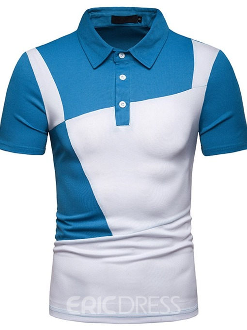 Ericdress Color Block Patchwork Mens Casual Polo Shirts