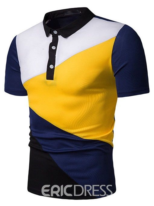 Ericdress Patchwork Color Block Mens Polo Shirt