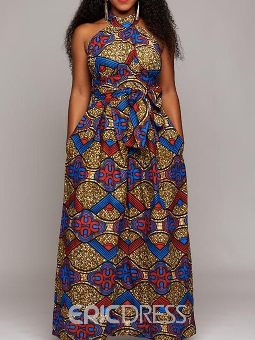Ericdress African Fashion Floor-Length Lace-Up Pocket A-Line Dress