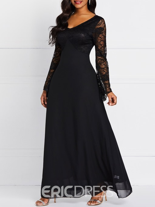 Ericdress Lace V-Neck Patchwork Plain Date Night Dress