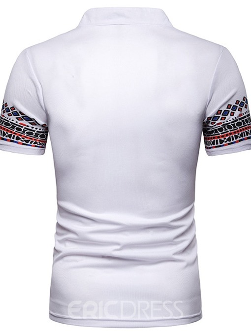 Ericdress Patchwork Geometric Print Stand Collar Mens Polo Shirt
