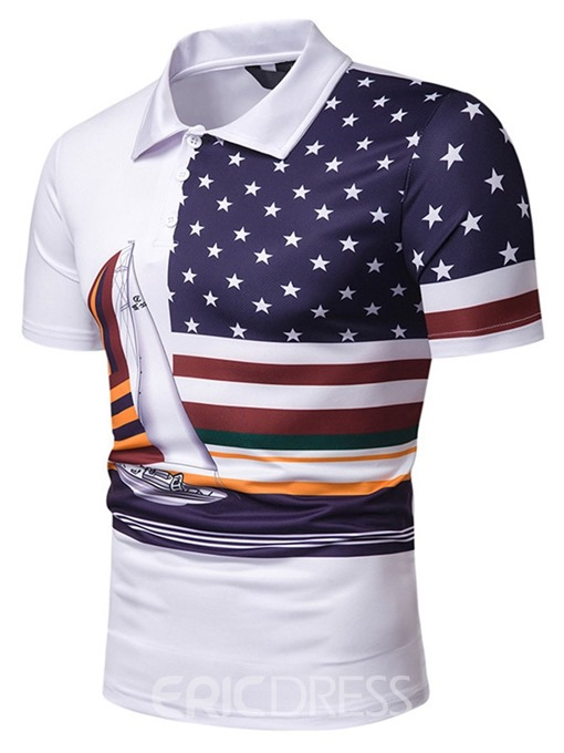 Ericdress Patchwork Printed Mens Casual Polo Shirt