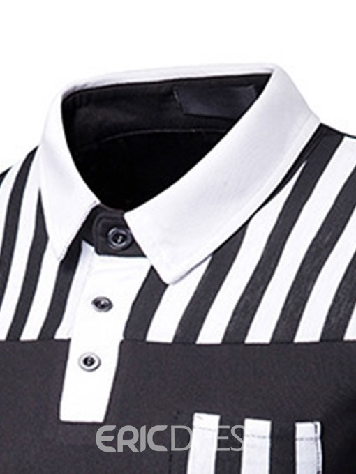 Ericdress Patchwork Striped Mens Casual Polo Shirt