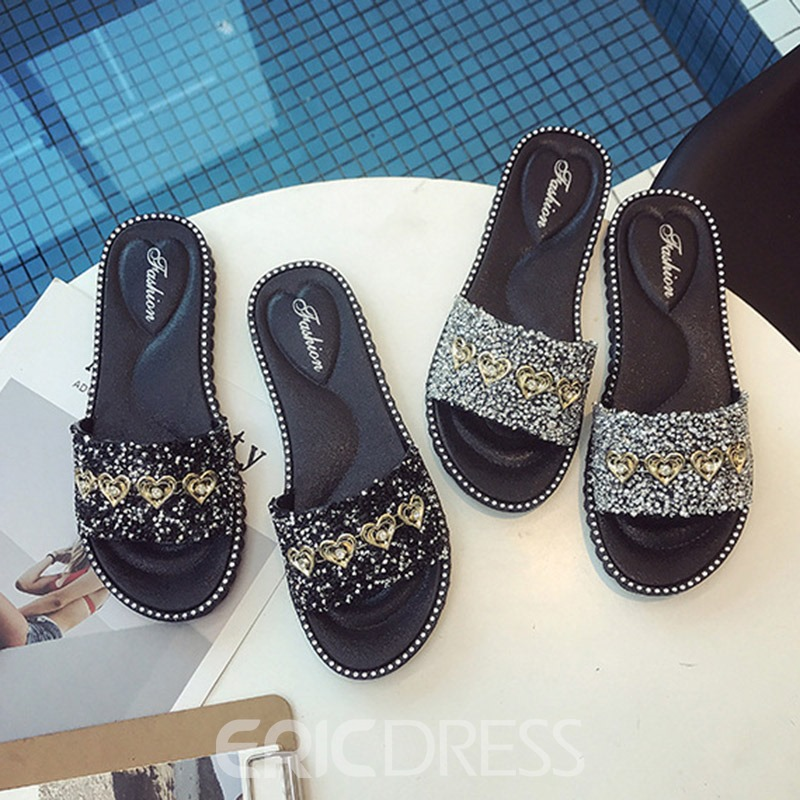 Ericdress PVC Sequin Slip-On Women's Casual Slippers