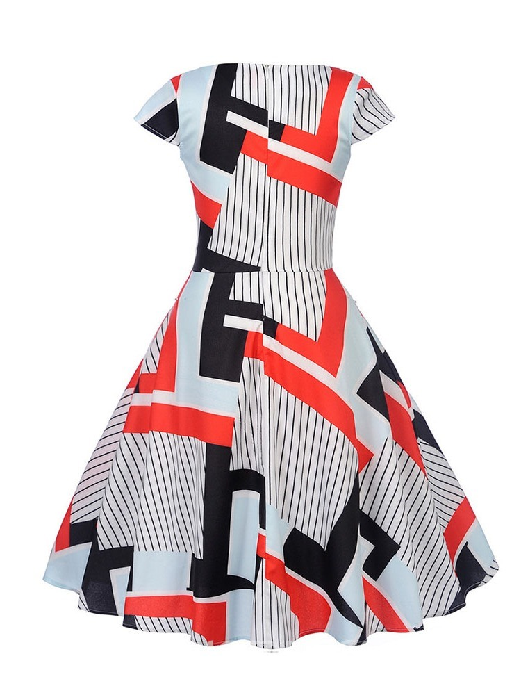 Ericdress Knee-Length Short Sleeve Print A-Line Mid Waist Dress
