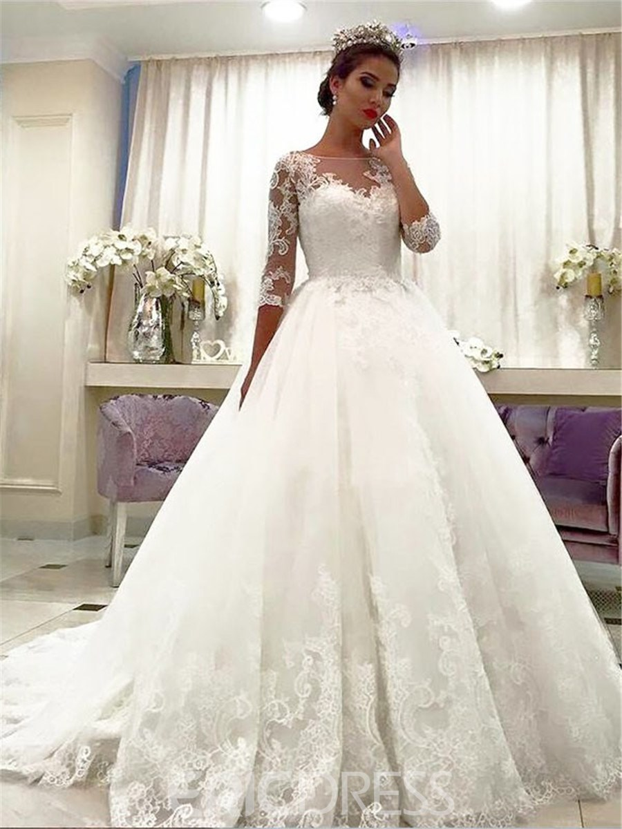 Ericdress Ball Gown Lace Half Sleeves Wedding Dress 2019