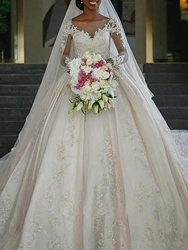 Ericdress Long Sleeves Appliques Church Wedding Dress