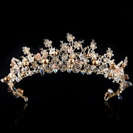 Golden Pearl Inlaid Korean Tiara Hair Accessories (Wedding)