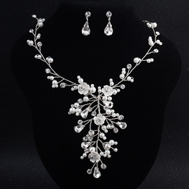 Necklace Pearl Inlaid Floral Jewelry Sets (Wedding)