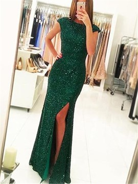 Ericdress Cap Sleeves Sequin Sheath Evening Dress