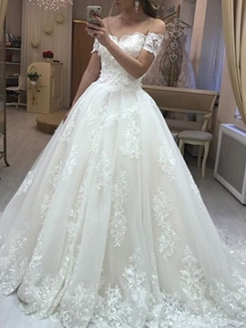 Ericdress Off the Shoulder Appliques Ball Wedding Dress 2019