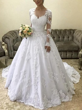 Ericdress Long Sleeves Ball Gown Appliques Wedding Dress 2019