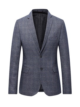 ericdress plaid simple boutonnage revers revers blazer mens blazer