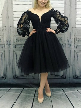 off-the-Schulter lange Ärmel Ballkleid knielangen Abendkleid 2019