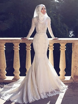 Ericdress Mermaid Bowknot Appliques Arabic Wedding Dress 2019