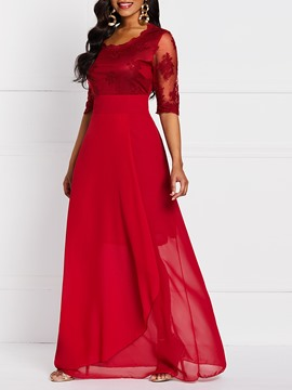 Ericdress Lace Floor-Length Half Sleeve Plain Expansion Dress