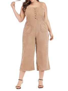 Ericdress Plus Size Button Plain Mid Waist Wide Legs Ankle Length Jumpsuit