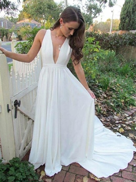 Ericdress Chiffon Deep V-Neck Beach Wedding Dress