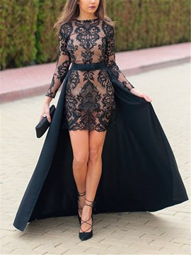 Ericdress Sheath Long Sleeves Black Evening Dress 2019