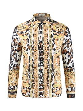 Ericdress Leopard Print Lapel Single-Breasted Mens Casual Shirt
