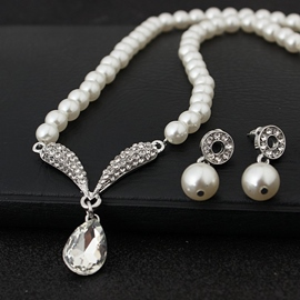 Water Drop European Earrings Pearl Jewelry Sets (Wedding)