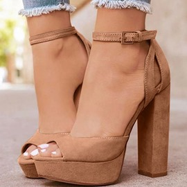 Ericdress Faux Suede Peep Toe Buckle Chunky Heel Women's Sandals