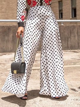 Ericdress Plus Size Polka Dots Loose Print Wide Legs Casual Pants