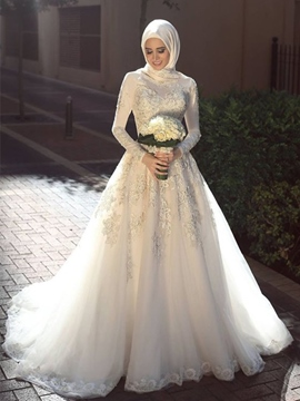 Ericdress Appliques A-Line Long Sleeves Muslim Wedding Dress 2019