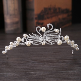 Pearl Inlaid Tiara Crown Hair Accessories (Wedding)