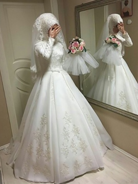 Ericdress Long Sleeves Bowknot Muslim Wedding Dress 2019