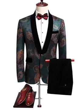 Ericdress Floral Print One Button Blazer Mens Casual Party Dress Suit