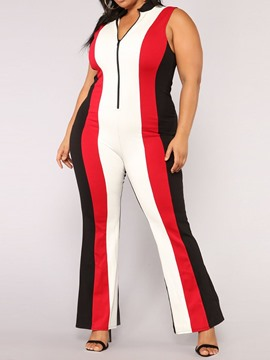 Ericdress Plus Size Patchwork Color Block Slim Mid Waist Jumpsuit