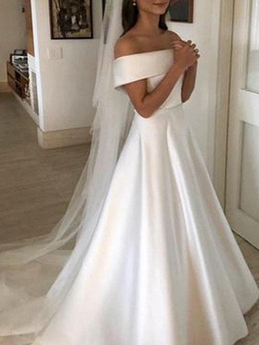 Ericdress Button Bowknot Off-The-Shoulder Hall Wedding Dress 2019