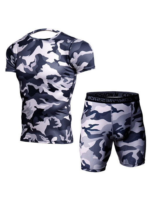 Ericdress Men Print Anti-Sweat Shorts Pullover Sports Sets