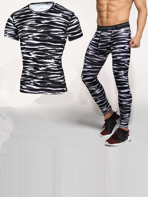 Ericdress Men Print Zebra Stripe Pullover Full Length Sports Sets